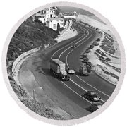 Hwy 101 In Southern California Round Beach Towel by Underwood Archives