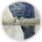 Hyacinthine Macaw Round Beach Towel by Henry Stacey Marks