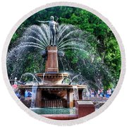 Hyde Park Fountain Round Beach Towel by Kaye Menner