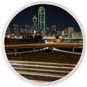 I-35e Dallas Round Beach Towel by Rick Berk