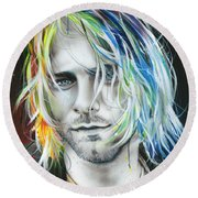 Kurt Cobain - ' In Debt For My Thirst ' Round Beach Towel by Christian Chapman Art