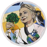 In Honor Of Hillary Clinton Round Beach Towel by Konni Jensen