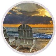 In The Spotlight Round Beach Towel by Debra and Dave Vanderlaan