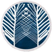 Indigo And White Leaves- Abstract Art Round Beach Towel by Linda Woods