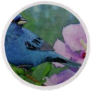 Indigo Bunting No 1 Round Beach Towel by Ken Everett