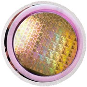 Round Beach Towel featuring the photograph Integrated Circuits On Silicon Wafer by Science Source