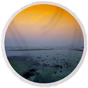 Into The Blue Round Beach Towel by Midori Chan