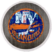 Islanders Hockey Team Retro Logo Vintage Recycled New York License Plate Art Round Beach Towel by Design Turnpike