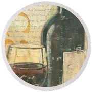Italian Wine And Grapes Round Beach Towel by Debbie DeWitt