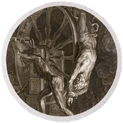 Ixion In Tartarus On The Wheel, 1731 Round Beach Towel by Bernard Picart