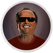Jack Nicholson 2 Round Beach Towel by Paul Meijering
