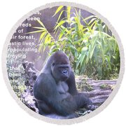 Jane Goodall Gorilla Round Beach Towel by Barbara Snyder