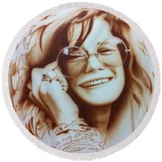 Janis Joplin - ' Janis ' Round Beach Towel by Christian Chapman Art