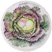 January King Cabbage  Round Beach Towel by Alison Cooper