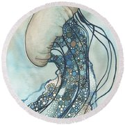 Jellyfish Two Round Beach Towel by Tamara Phillips