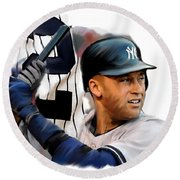 Jeter II  Derek Jeter Round Beach Towel by Iconic Images Art Gallery David Pucciarelli