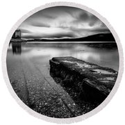 Jetty To Castle Stalker Round Beach Towel by Dave Bowman