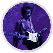 Jimi Hendrix Purple Haze Round Beach Towel by David Dehner