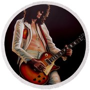 Jimmy Page In Led Zeppelin Painting Round Beach Towel by Paul Meijering