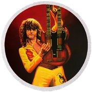 Jimmy Page Painting Round Beach Towel by Paul Meijering