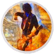 Jimmy Page Playing Guitar With Bow Round Beach Towel by Dan Sproul