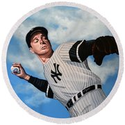 Joe Dimaggio Round Beach Towel by Paul Meijering