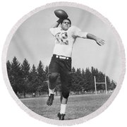 Joe Francis Throwing Football Round Beach Towel by Underwood Archives
