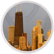 John Hancock Center Chicago Round Beach Towel by Adam Romanowicz