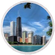 John Hancock Chicago Skyline Panorama Round Beach Towel by Christopher Arndt