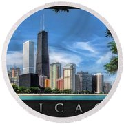 John Hancock Chicago Skyline Panorama Poster Round Beach Towel by Christopher Arndt