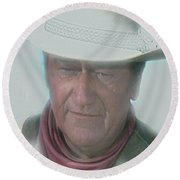 John Wayne Round Beach Towel by Randy Follis