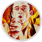 Johnny Cash And It Burns Round Beach Towel by Joshua Morton