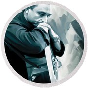 Johnny Cash Artwork 3 Round Beach Towel by Sheraz A