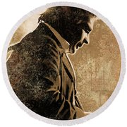 Johnny Cash Artwork Round Beach Towel by Sheraz A