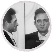 Johnny Cash Folsom Prison Round Beach Towel by David Millenheft