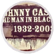 Johnny Cash Memorial Round Beach Towel by Dan Sproul