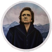 Johnny Cash Painting Round Beach Towel by Paul Meijering