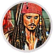 Johnny Depp As Jack Sparrow Round Beach Towel by Florian Rodarte
