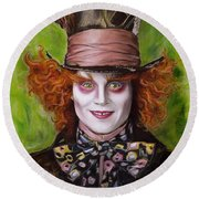 Johnny Depp As Mad Hatter Round Beach Towel by Melanie D