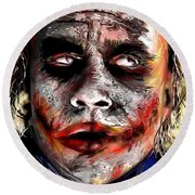 Joker Painting Round Beach Towel by Daniel Janda