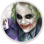 Joker Watercolor Portrait Round Beach Towel by Olga Shvartsur