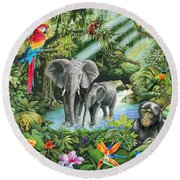 Jungle Round Beach Towel by Mark Gregory