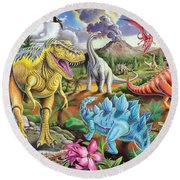 Jurassic Jubilee Round Beach Towel by Mark Gregory