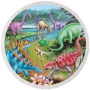 Jurassic Swamp Variant 1 Round Beach Towel by Mark Gregory
