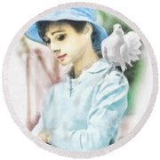 Just Audrey Round Beach Towel by Mo T
