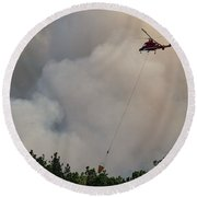 Round Beach Towel featuring the photograph K-max Helicopter On Myrtle Fire by Bill Gabbert