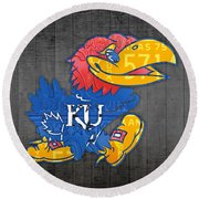 Kansas Jayhawks College Sports Team Retro Vintage Recycled License Plate Art Round Beach Towel by Design Turnpike