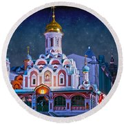 Kazan Cathedral. Red Square. Moscow Russia Round Beach Towel by Juli Scalzi