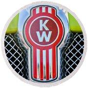 Kenworth Truck Emblem -1196c Round Beach Towel by Jill Reger