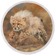 Kicking Up Dust 3 Round Beach Towel by David Stribbling